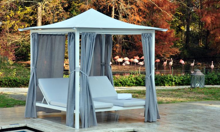 Gazebo in alluminio con tetto a pagoda modello living dcoperture