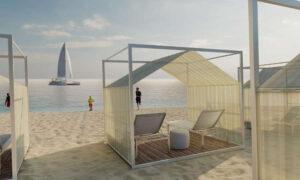 Tipi, pegola con struttura in alluminio e copertura in acrilico